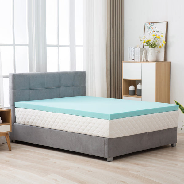 Mecor 4 Inch 4 Inch 100% Gel Infused Memory Foam Mattress Topper - Ventilated Design Bed Topper - CertiPUR -US Certified/Blue