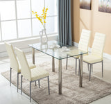 Mecor 5 Piece Dining Table Set Tempered Glass Top Dinette Sets with 4 PU Leather Chairs , Light Yellow