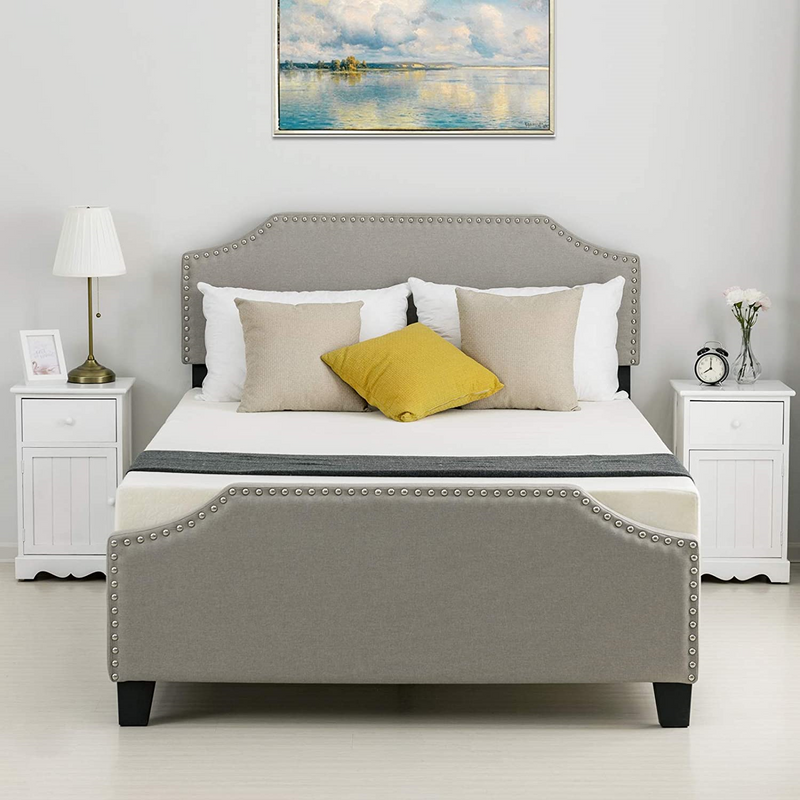 Mecor Upholstered Linen Platform Bed, Curved Shape Headboard, Footboard and Metal Frame with Sticky Wood Slat Support, Headboard Height Adjustable