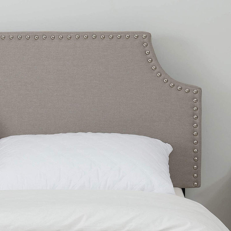 Mecor Upholstered Linen Full, Queen Size Headboard with Decorative Nailhead Trim and Curved Shape Adjustable Height in Khaki Fabric