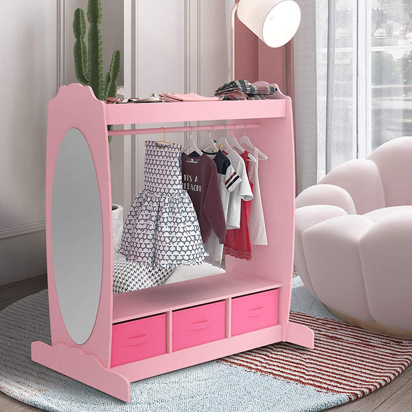 Mecor Kids Dress Up Storage with Mirror, Clothes Hook, Shelf and Rod - Kids Armoire with Fabric Storage Bins