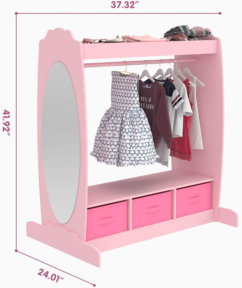 Mecor Kids Dress Up Storage with Mirror, Clothes Hook ...