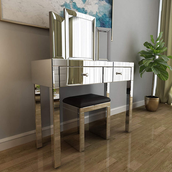 Mecor Mirrored Vanity Table Set with Tri-fold Mirror and Cushioned Stool Silver Makeup Dressing Table with 2 Drawers Modern Writing Desk