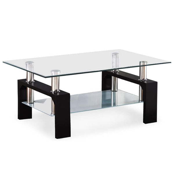 Mecor Rectangle Glass Top Coffee Table - Modern Center Table with Shelf & Wood Legs Suit for Living Room (Black)