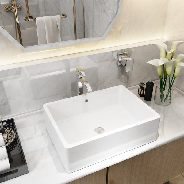 Mecor 20inchx14.5inch Rectangle Bathroom Ceramic Vessel Sink Basin White Vanity Sink with Pop-up Drain