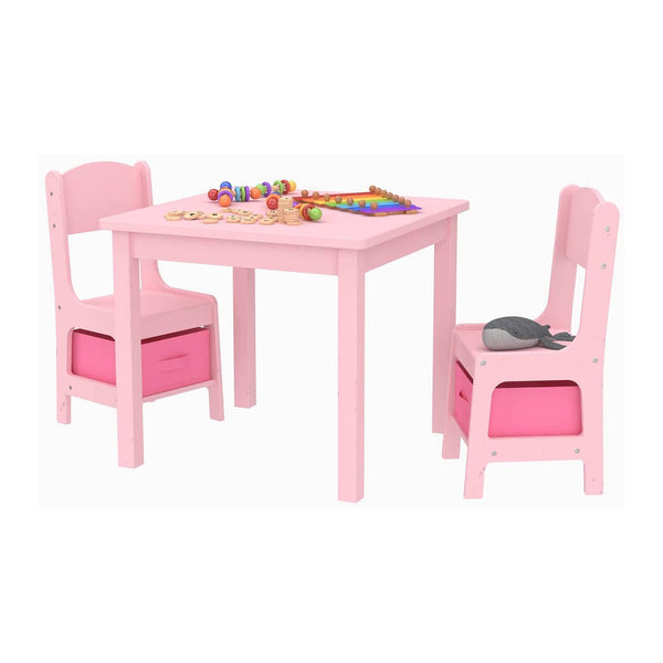 Mecor Kids Table and Chair Set with 2 Storage Boxes, Children Play Desk w/ 2 Chairs