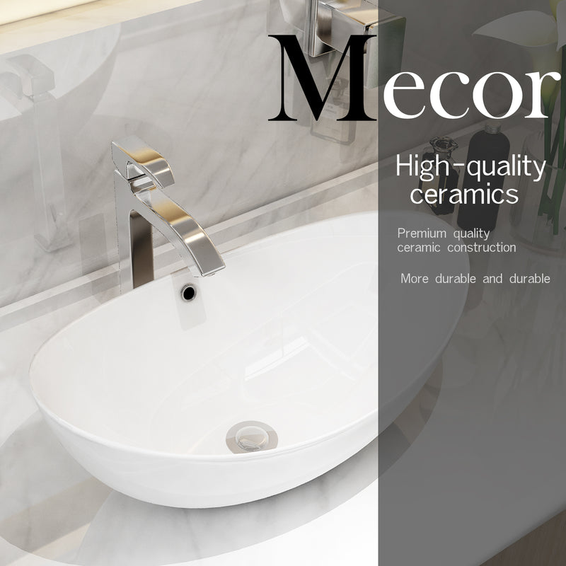 Mecor 23inch x 16inch Oval Egg Shape Vessel Sink Bathroom Vanity Bowl with Pop Up Drain