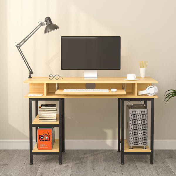 Mecor Computer Desk Study Writing Table for Home Office with 4 Storage Positions