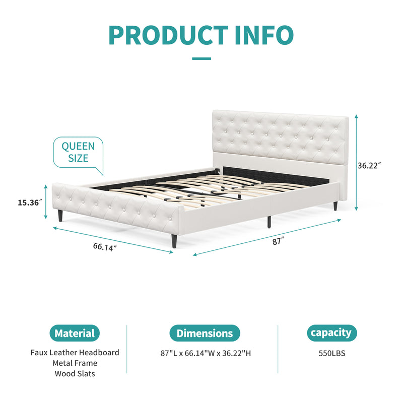 Mecor Upholstered Faux Leather Platform Bed Frame with Solid Wooden Slat Support and Button Tufted Headboard and Footboard, White