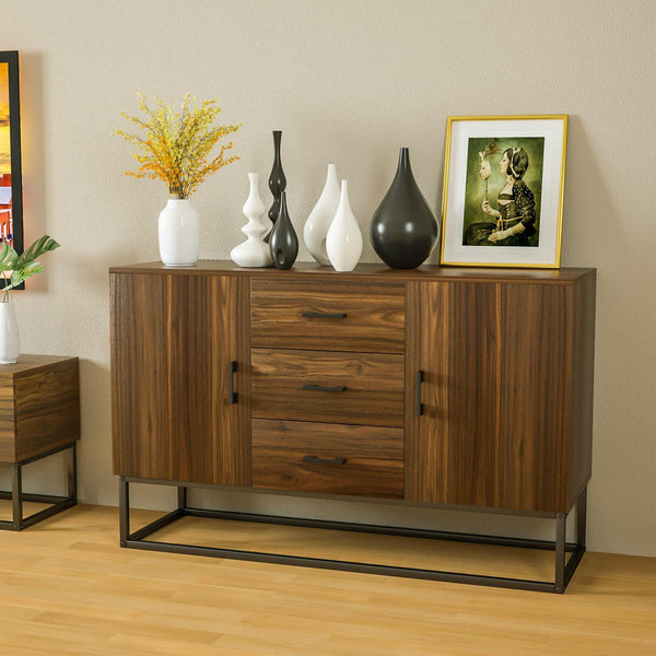 Mecor Modern Sideboard Storage Cabinet, Buffet Table Kitchen Storage with Three Storage Drawers