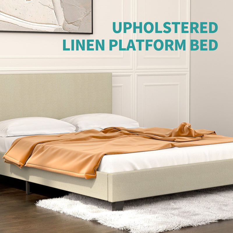 Mecor Upholstered Linen Platform Bed Frame with Fabric Headboard, Strong Wood Slats Support, Easy Assembly, Queen, Beige