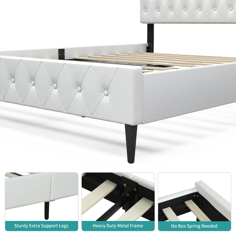 Mecor White Upholstered Faux Leather Platform Bed Frame, Adjustable Button Tufted Headboard, Strong Wooden Slat Support, White, Queen