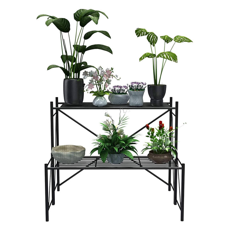 Mecor 2-Tier Metal Plant Stand, Large-Capacity Indoor/Outdoor Flower Pot Holder Rack for Plants