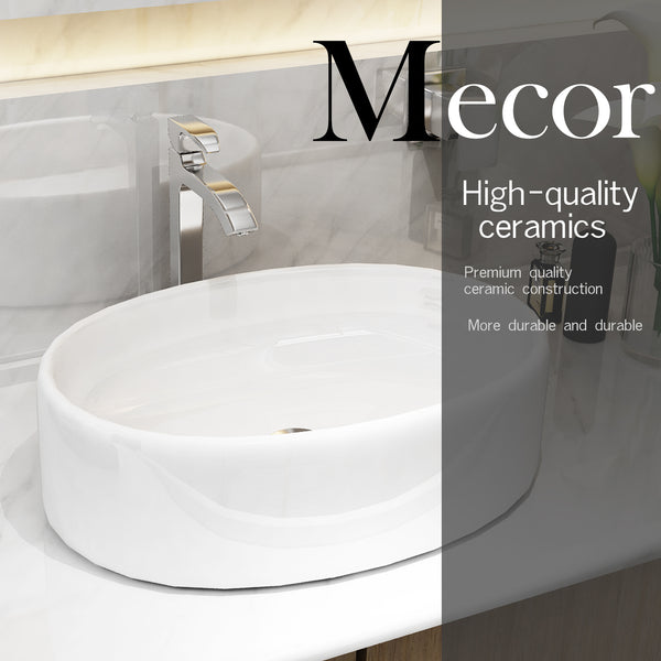 Mecor 20inchx13.7inch Oval White Porcelain Bathroom Ceramic Vessel Sink Bowl Basin with Pop-up Drain