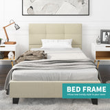 Mecor Upholstered Linen Platform Metal Bed Frame with Tufted Square Stitched Fabric Headboard, Wooden Slats, Mattress Foundation, Beige, Twin
