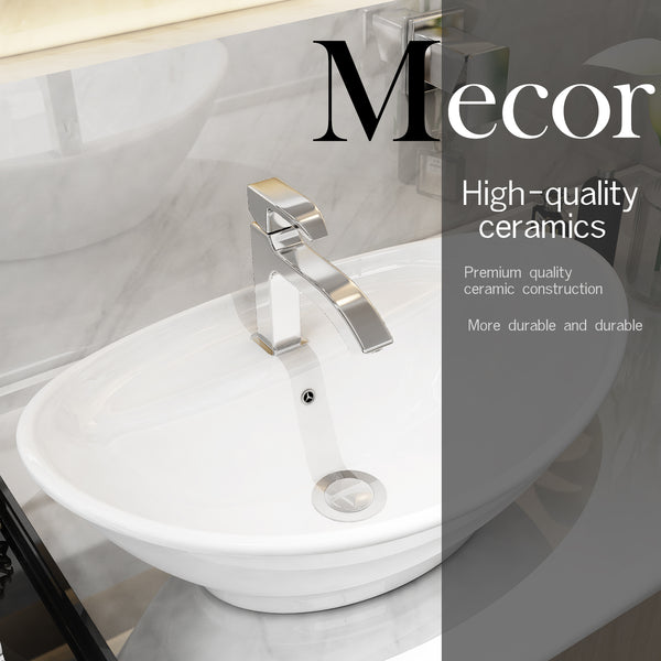 Mecor 23inchx15inch Oval Egg Shape Bathroom Vessel Sink Vanity Basin with Pop-up Drain, Porcelain White