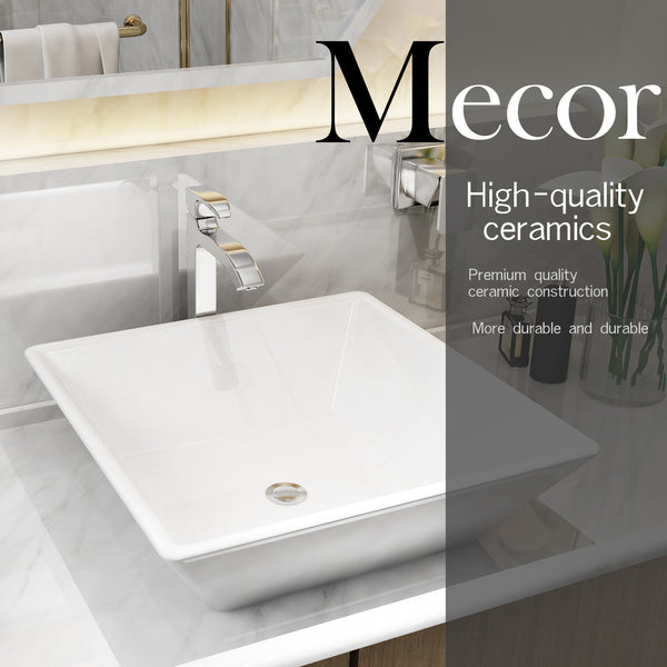 Mecor 16inch X 16inch Beveled Square White Porcelain Ceramic Basin Vessel Vanity Sink Bowl Bathroom With Pop Up Drain