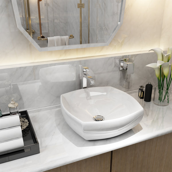 Mecor White Vessel Sink - 17inch x 17inch Square Bathroom Sink White Porcelain Ceramic Bathroom Vessel Vanity Sink