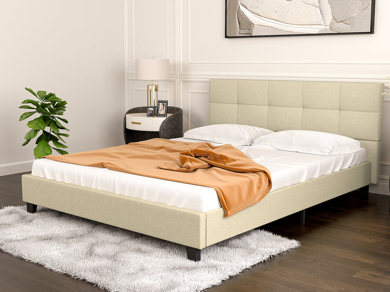 Mecor Upholstered Linen Platform Metal Bed Frame with Tufted Square Stitched Fabric Headboard, Strong Wood Slat Support, Beige, Queen