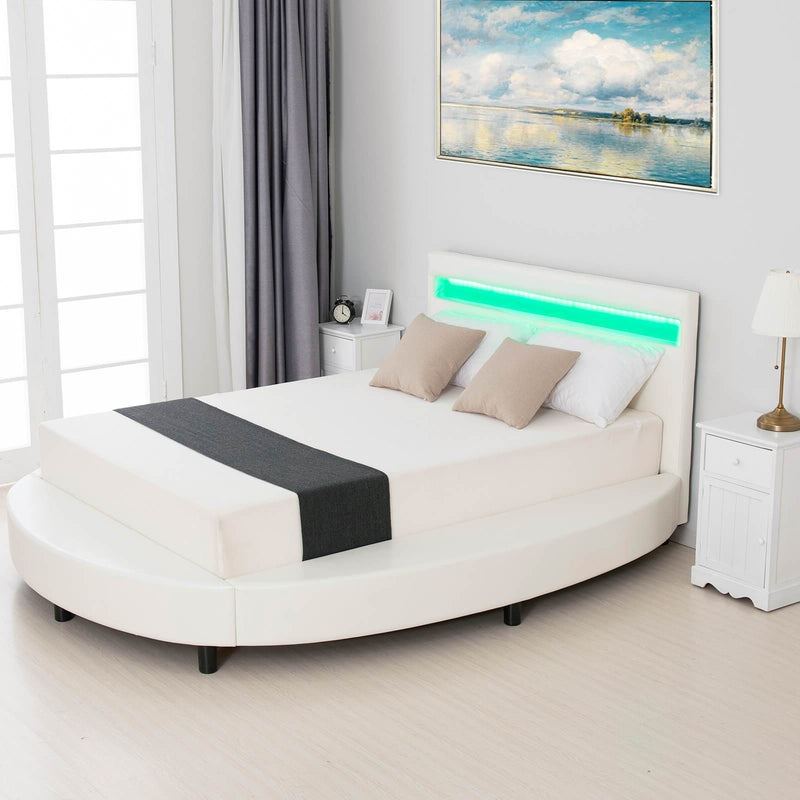 Mecor Round LED Bed with 8 Color Changing LED Light Headboard, Modern Upholstered Faux Leather Bed Frame, 2.8-Inch Solid Wooden Slats Support - White
