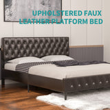 Mecor Brown Upholstered Faux Leather Platform Bed Frame, Adjustable Button Tufted Headboard, Strong Wooden Slat Support, Brown, Queen