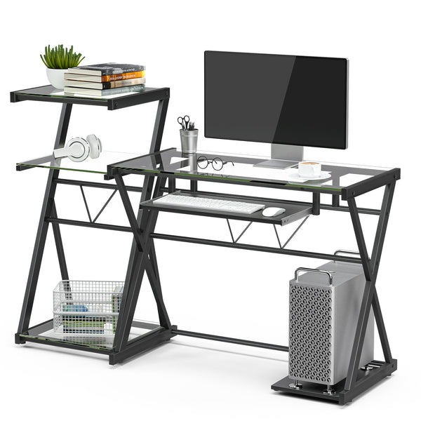 Mecor Glass Computer Desk Laptop Table Metal X-Frame Corner Workstation with Keyboard Tray, Study Desk with Storage Bookshelf, Clear