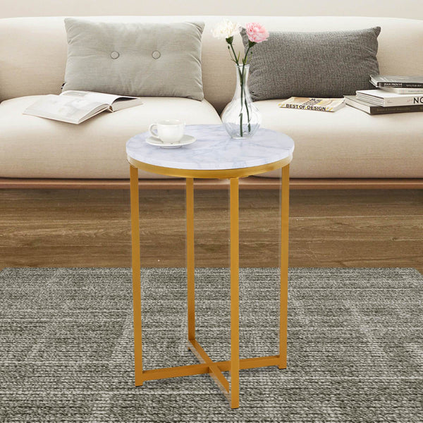 Mecor Modern Round Side End Accent Table Gold Marble Metal Frame Beside Sofa