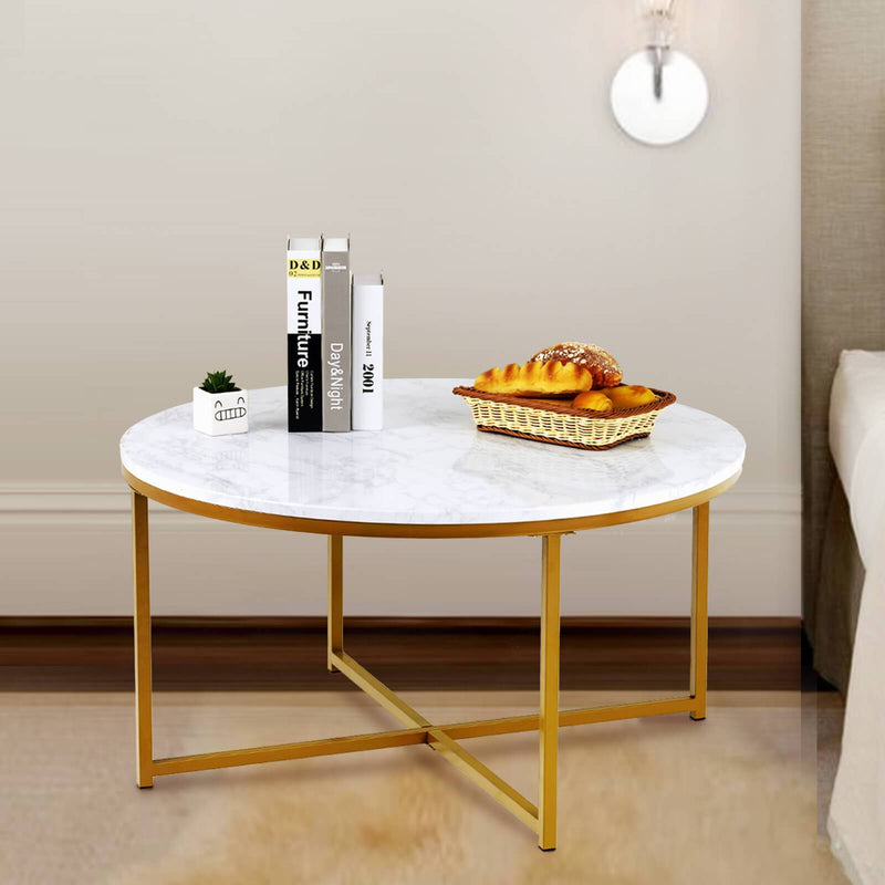 Mecor Modern Round Coffee Table Faux Marble Gold Metal Legs Tea Table