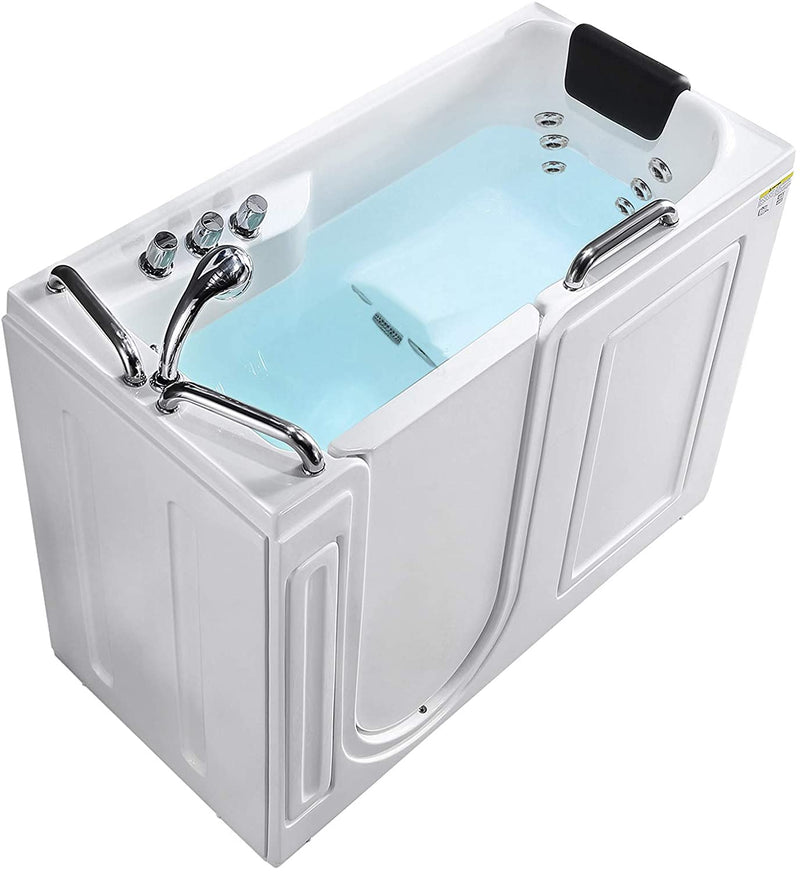 Mecor Walk-in Whirlpool Bathtub, Rectangular Soaking Bathtub with Built-in Seat,Left Intward Opening Door with Left Drain