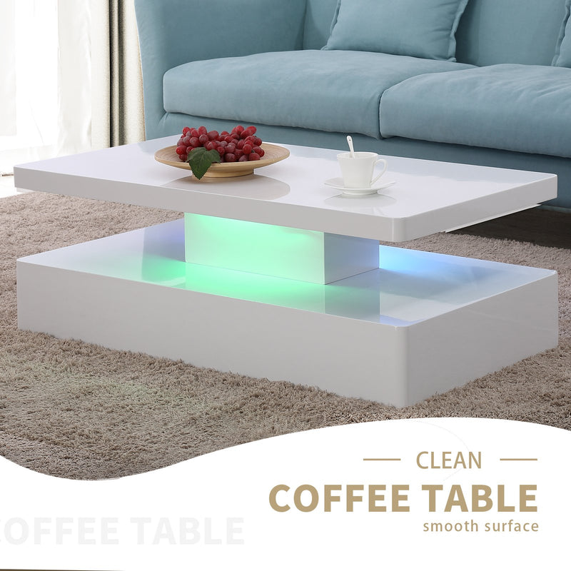 Mecor Modern Glossy White Coffee Table W/LED Lighting, Contemporary Rectangle Design