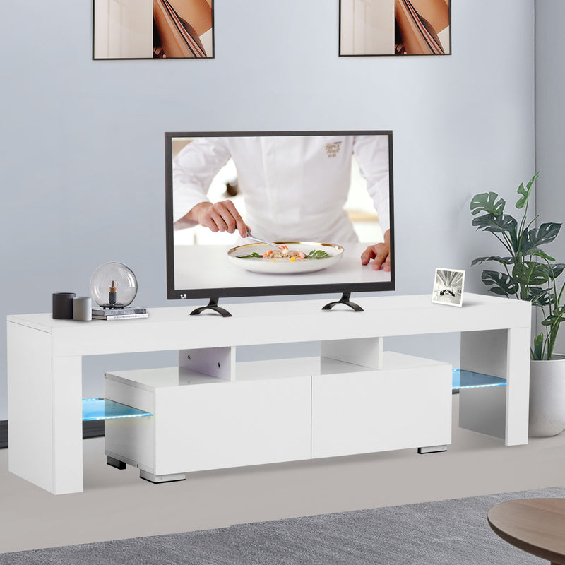 Mecor Modern White TV Stand with LED Lights, 65 Inch High Gloss TV Console Cabinet with Storage and 2 Drawers