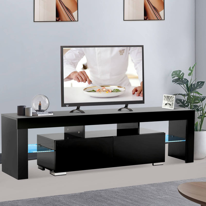Mecor Modern Black TV Stand with LED Lights, High Gloss TV Stand for 65 Inch TV LED TV Stand with Storage and 2 Drawers