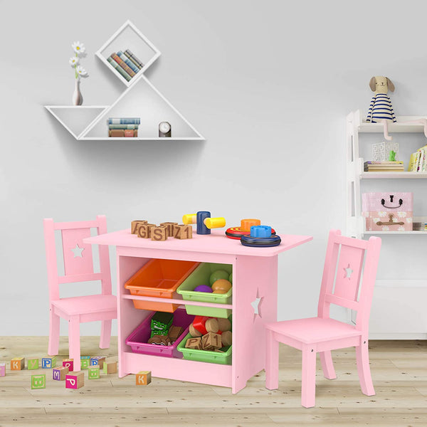 Mecor Kids Table and Chair Set, Table with 4 Storage Boxes, Star Design Childern Desk w/ 2 Chairs