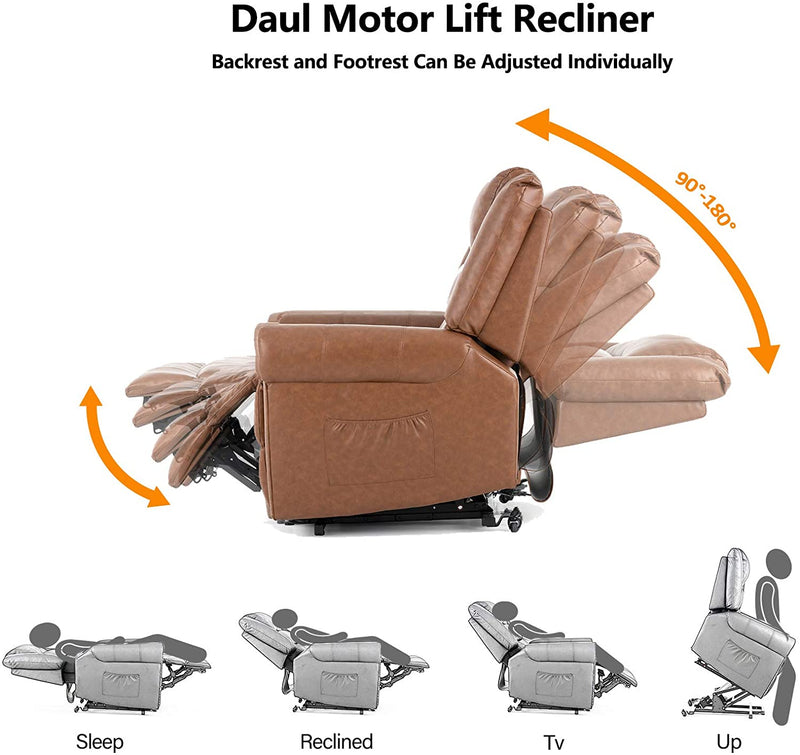 Mecor Power Lift Chair Dual Motor PU Leather Lift Recliner for Elderly Lay Flat Sleeper Recliner