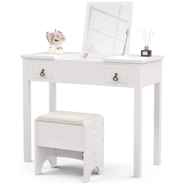 Mecor Vanity with Flip Top Mirror,Vanity Table Set, Cushioned Stool with 2 Drawers, 3 Removable Organizers Writing Desk Bedroom Bathroom Furniture