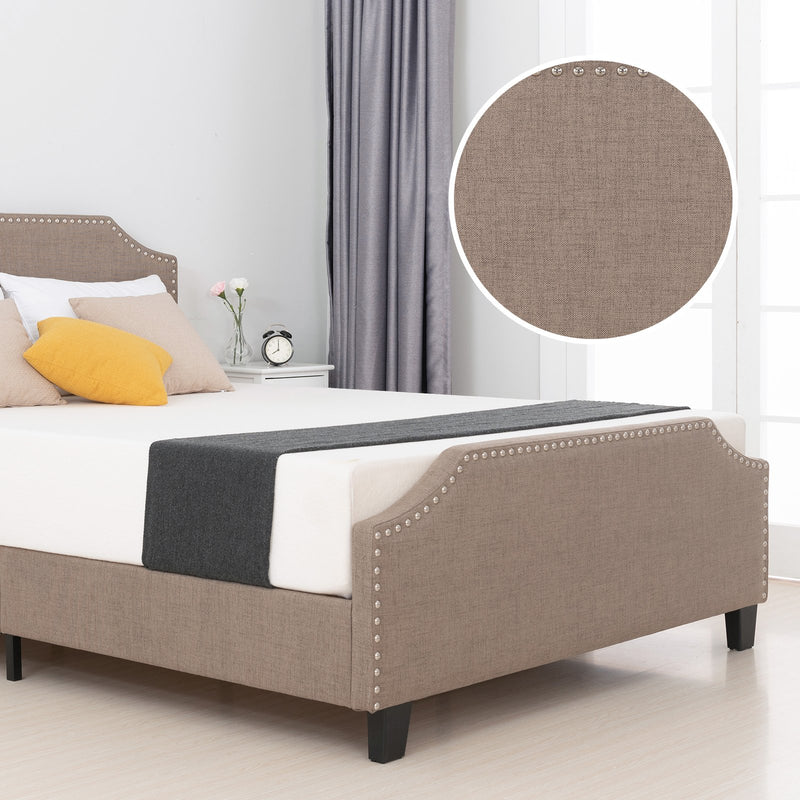 Mecor Upholstered Linen Platform Bed -Brown