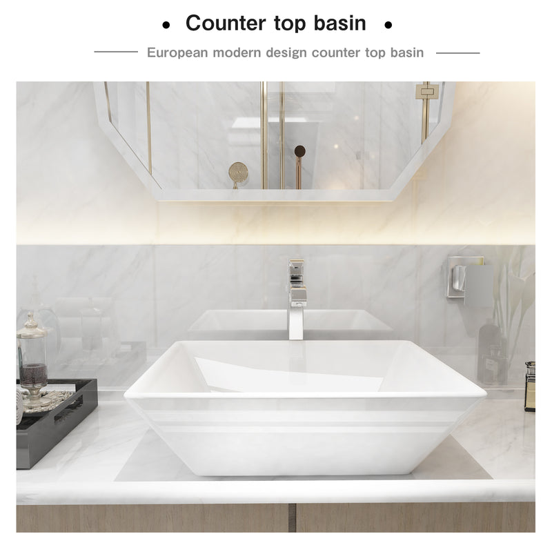 Mecor 16X16inch Beveled Square White Porcelain Ceramic Basin Vessel Vanity Sink Bowl Bathroom With Pop Up Drain