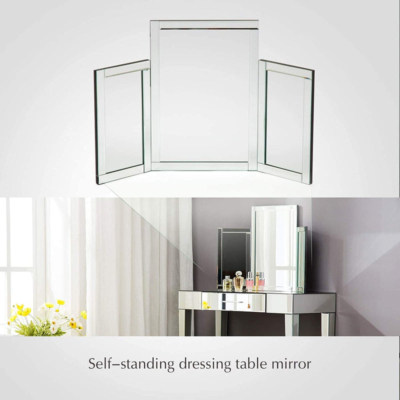 Mecor Tri-fold Vanity Mirror, Makeup Tabletop Dressing Cosmetic Mirror