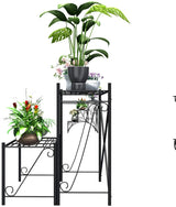 Mecor 2-Tier Metal Plant Stand, Large-Capacity Indoor/Outdoor Flower Pot Holder Rack for Plants, for Home Garden Patio Balcony Yard