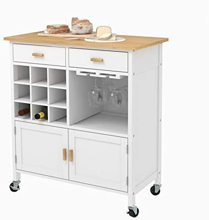 Mecor Kitchen Utility Island Cart with Wood Top,White