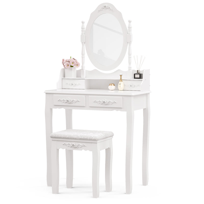 Mecor Makeup Vanity Sets with Oval Mirror, 4 Drawers Girls Women Bedroom Makeup Table