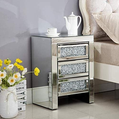 Mecor Mirrored End Table 3 Drawers Mirror Accent Side Table Golden Finished Nightstand for Living Room or Bedroom