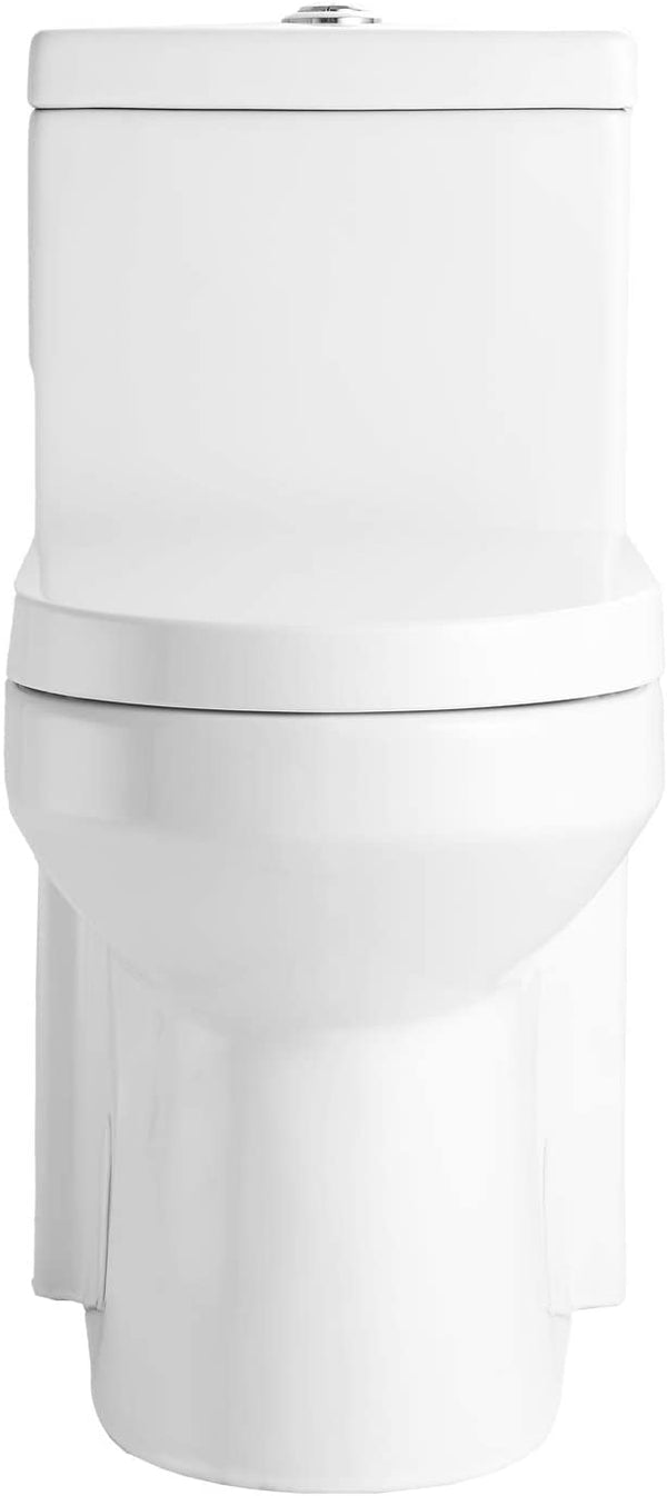 Mecor One Piece Toilet Siphon Dual Flushing,Soft Closing Quick Release Seat Glossy White