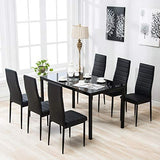 Mecor PU Leather Dining Chairs Set of 4, Modern Highh Back Kitchen Side Chairs with Ergonomic Curved Back and Steel Frame