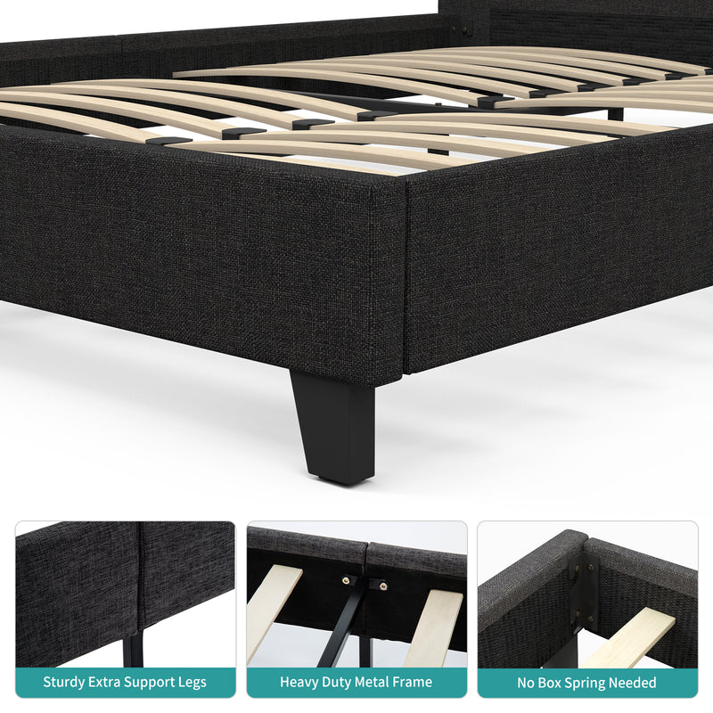 Mecor Upholstered Linen Queen Platform Bed with Metal Frame with Square Stitched Headboard with Wood Slats Support, Black, Queen