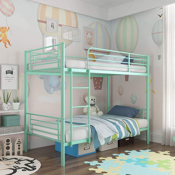 Mecor Metal Bunk Bed Twin Over Twin-Sturdy Frame with Safety Guard Rail & Removable Ladder