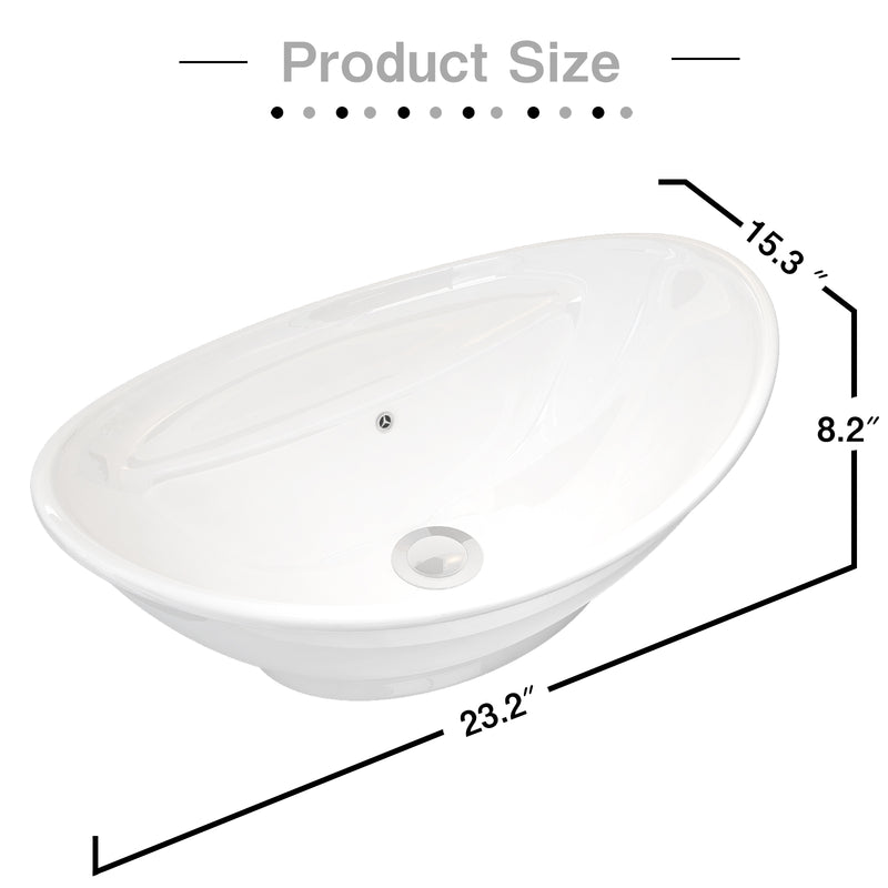 Mecor 23 x 15inch Oval Egg Shape Bathroom Vessel Sink Vanity Basin with Pop-up Drain, Porcelain White