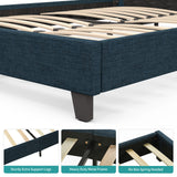 Mecor Upholstered Linen Platform Bed Frame with Fabric Headboard, Strong Wood Slats Support, Easy Assembly, Blue, Queen