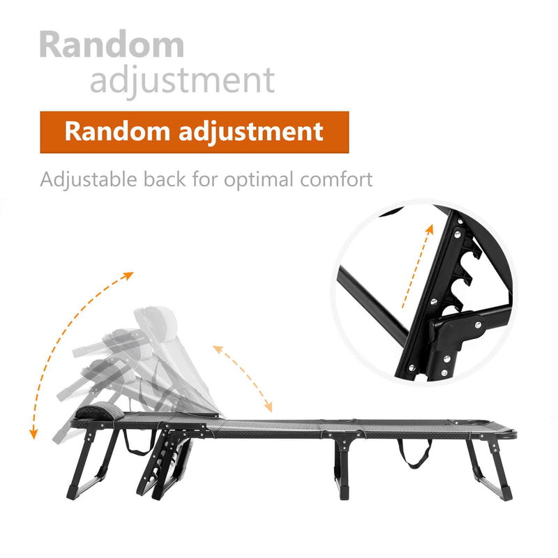 Mecor Folding Camping Cot, Adjustable Folding Bed,Portable Folding Chaise lounges (White)