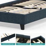 Mecor Upholstered Linen Twin Platform Bed Frame with Fabric Headboard, Mattress Foundation, Metal Frame with Wood Slat Support, Twin, Blue